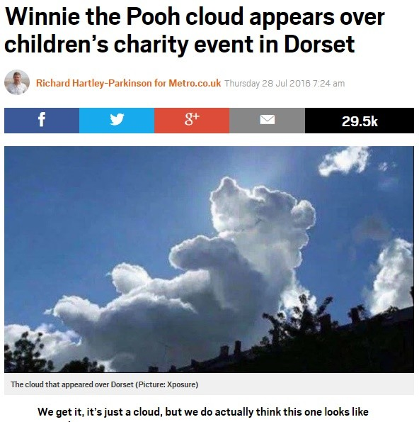 """英ドーセット州に""""くまのプーさん""""雲 病気の子供たちへ天からの贈り物!?"""