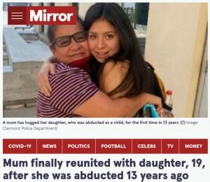 母と19歳になった娘が14年ぶりに再会(画像は『The Mirror 2021年9月15日付「Mum finally reunited with daughter, 19, after she was abducted 13 years ago」(Image: Clermont Police Department)』のスクリーンショット)