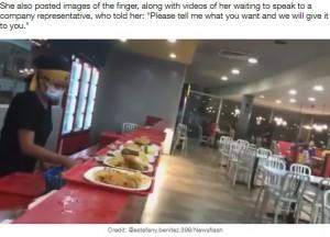 問題があったボリビアのハンバーガーチェーン店(画像は『LADbible 2021年9月16日付「Woman Eating Burger Bites Into Human Finger At Fast Food Restaurant」(Credit: @estefany.benitez.399/Newsflash)』のスクリーンショット)