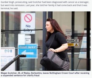 がんと偽り寄付金を募った女(画像は『The Mirror 2021年9月22日付「Woman who faked terminal cancer and spent £16,000 in donations spared jail」』のスクリーンショット)