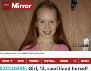 亡くなった13歳のニッキーさん(画像は『The Mirror 2021年9月23日付「EXCLUSIVE: Girl, 13, sacrificed herself to save her sister after lake floor suddenly collapsed」』のスクリーンショット)