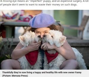 安楽死寸前だった2匹の犬と飼い主の女性(画像は『Metro 2021年9月25日付「Rescued Westie twins live best life despite having just two eyes between them」(Picture: Mercury Press)』のスクリーンショット)
