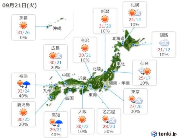 21日(火)の天気 日中は気温上昇 所々で真夏日 夜は九州〜関東で雨や雷雨も