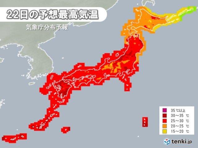 22日の最高気温 関東や東北でも30℃以上の真夏日続々 真夏並みの所も