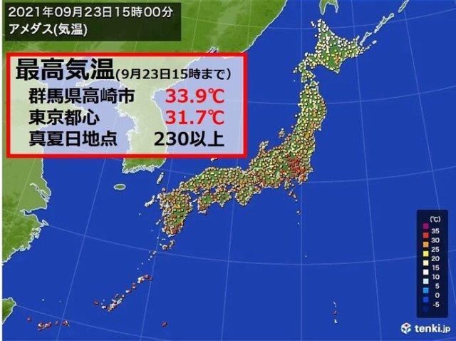 「秋分の日」なのに真夏日地点が増加 東京・横浜など久しぶりの真夏日