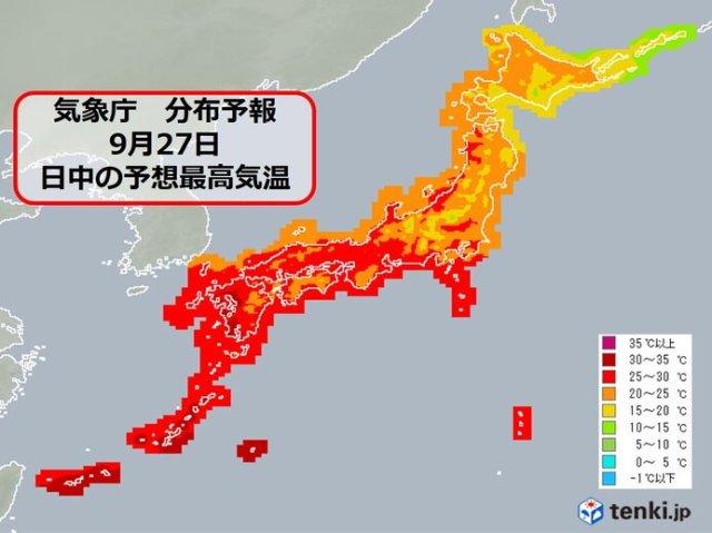 27日月曜 関東〜近畿は肌寒さ解消 名古屋・大阪など「夏日」地点が増加