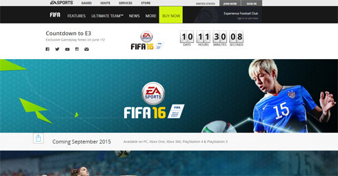 『FIFA 16』公式HPより。