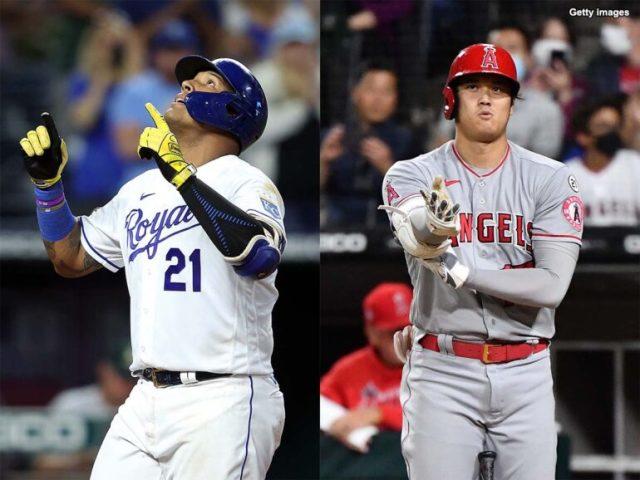 トップと1本差の44本塁打で並んだペレス(左)と大谷翔平(右)