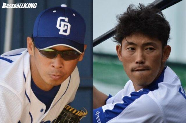 今季限りでの現役引退を発表した中日の山井大介(左)と藤井淳志